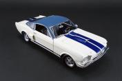 1966 Shelby GT350 Prototype w/ Vinyl Top, White w/ Blue - Acme 1801818 - 1/18 Scale Diecast Model Toy Car