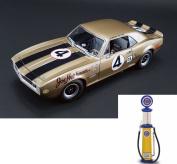 Chevy Diecast Car & Gas Pump Package - 1967 Chevy Camaro Z28, Gold - Acme 1805703 - 1/18 Scale Diecast Model Toy Car w/Gas Pump