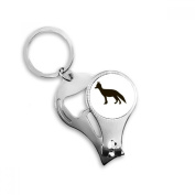 Black Fox Cute Animal Portrayal Metal Key Chain Ring Multi-function Nail Clippers Bottle Opener Car Keychain Best Charm Gift