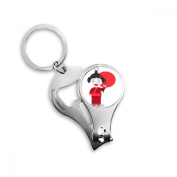 White Red Japan Cartoon Metal Key Chain Ring Multi-function Nail Clippers Bottle Opener Car Keychain Best Charm Gift