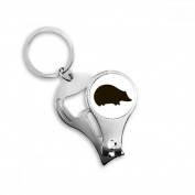 Black Hedgehog Animal Portrayal Metal Key Chain Ring Multi-function Nail Clippers Bottle Opener Car Keychain Best Charm Gift