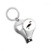 Black Grey Heron Animal Portrayal Metal Key Chain Ring Multi-function Nail Clippers Bottle Opener Car Keychain Best Charm Gift