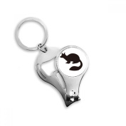 Black Marten Animal Portrayal Metal Key Chain Ring Multi-function Nail Clippers Bottle Opener Car Keychain Best Charm Gift