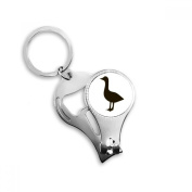 Black Goose Cute Animal Portrayal Metal Key Chain Ring Multi-function Nail Clippers Bottle Opener Car Keychain Best Charm Gift