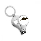 Black Mouse Animal Portrayal Metal Key Chain Ring Multi-function Nail Clippers Bottle Opener Car Keychain Best Charm Gift