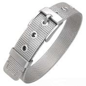 Stainless Steel Silver-Tone Mesh Belt Buckle Adjustable Womens Bracelet