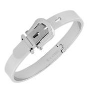 Stainless Steel Silver-Tone Belt Buckle Adjustable Bangle Bracelet