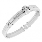 Stainless Steel Silver-Tone Men's Handcuff Bracelet