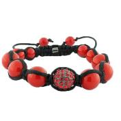 Red CZ Ball Beaded Black Cord Adjustable Macrame Bracelet