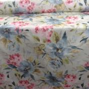 Vintage Summer Blooms Designer Digital Print Cotton Pink & Blue Designer Material Sewing Upholstery Curtain Craft Fabric