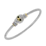 Fashion Alloy Silver-Tone White CZ Twisted Cable Skull Bangle Bracelet