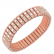 Stainless Steel Rose Gold-Tone White CZ Stretch Bangle Bracelet