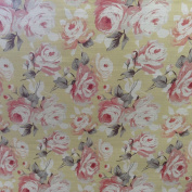Vintage Chateaux Rose Designer Cotton Soft Yellow Curtian Designer Material Sewing Upholstery Curtain Craft Fabric