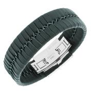 Stainless Steel Black Leather Silver-Tone Braided Men's Bracelet