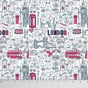 Soimoi 110cm Wide Dressmaking London Theme Architectural Print Poly Satin 105 GSM Fabric By The Metre - White