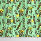 Soimoi London Theme Clock Tower Print 110cm Wide 130 GSM Moss Georgette Fabric By The Metre - Mint Green