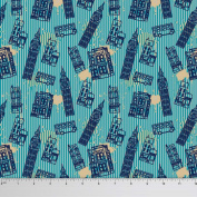 Soimoi London Theme Clock Tower Print 110cm Wide 130 GSM Moss Georgette Fabric By The Metre - Teal Blue