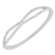 Fashion Alloy Silver-Tone White CZ Bangle Bracelet