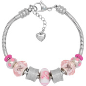Charm Bracelet With Charms For Women, Stainless Steel, Fits Pandora Jewellery, Pink Awareness Ribbon 2014, 7.5 Inch