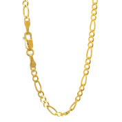 10k Solid Yellow Gold 3.7 mm Figaro Chain Bracelet 8""