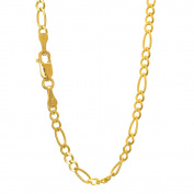 10k Solid Yellow Gold 2.6 mm Figaro Chain Bracelet 7""