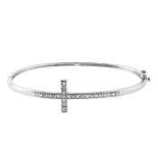 JewelExclusive Sterling Silver 1/10cttw Natural Round-Cut Diamond (J-K Colour, I2-I3 Clarity) d Sideways Cross Hinged Bangle Bracelet