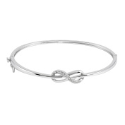 JewelExclusive Sterling Silver 1/10cttw Natural Round-Cut (J-K Colour, I2-I3 Clarity) Infinity Knot Bangle Bracelet