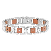 """Steel Nation Jewellery Men's Two-Tone Brown Stainless Steel Diamond Accent - Mens Link Chain Bracelet, 8.5"""""""