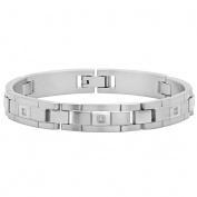 "Steel Nation Jewellery Men's Stainless Steel Diamond Accent - Mens Link Bracelet, 8"""