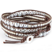 Women's Lagoon Leather and Pearl Wrap Bracelet