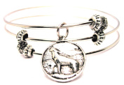 Wolf Howling In Moon Circle Triple Style Expandable Bangle Bracelet, Fits 19cm wrist, Chubby Chico Charms Exclusive