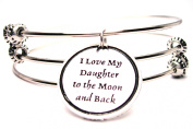I Love My Daughter To The Moon And Back Triple Style Expandable Bangle Bracelet, Fits 19cm wrist, Chubby Chico Charms Exclusive