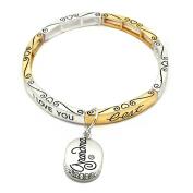 Forever Love Jewellery Charm Stretchy Bangle Bracelet Dual Silver Gold - Grandma