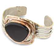 Women's Onyx Mixed Metal Silver, Brass and Copper Cuff Bracelet - 3.8cm Wide