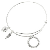 Sterling Silver Karma What Goes Around Comes Around Heart Feather Dangle Charm Adjustable Wire Bangle Bracelet