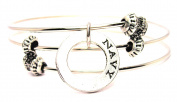 Navy Affirmation Ring Triple Style Expandable Bangle Bracelet, Fits 19cm wrist, Chubby Chico Charms Exclusive