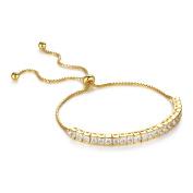Devuggo3mm Gold Tone Sterling Silver 3.74ct Princess Shape Cubic Zirconia Adjustable Tennis Bracelet