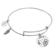 Sterling Silver Aunt Niece Heart Dangle Charm Expandable Bangle Bracelet