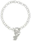 Silver Tone Rhinestone Toggle Charm Bracelet Licenced Playboy Bunny
