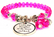 I Love My Daughter To The Moon And Back Splash Of Colour Crystal Bracelet, Fits 19cm wrist, Chubby Chico Charms Exclusive