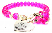 Niece Heart Splash Of Colour Crystal Bracelet, Fits 19cm wrist, Chubby Chico Charms Exclusive