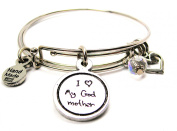 I Love My Godmother Child Handwriting Expandable Bangle Bracelet, Fits 19cm wrist, Chubby Chico Charms Exclusive