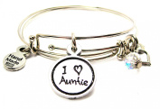 I Love Auntie Child Handwriting Expandable Bangle Bracelet, Fits 19cm wrist, Chubby Chico Charms Exclusive