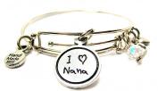I Love Nana Child Handwriting Expandable Bangle Bracelet, Fits 19cm wrist, Chubby Chico Charms Exclusive