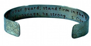 Be on Your Guard; Stand Firm in the Faith; ÌÎÌ_ Antiqued Distressed Brass Laced ...