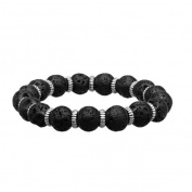 Inox Jewellery BR136 Zinc Ring & Lava Beads Stainless Steel Bracelet, Black