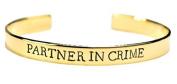 SET of TWO - Partner in Crime Bracelet Brass / Best Friend Bracelet / Hand St...