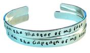 I am the master of my fate... - Hand Stamped Bracelet Aluminium Cuff Skinny Ba...