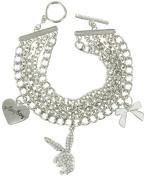 Silver Tone Heart Bow Toggle Charm Bracelet Licenced Playboy Bunny