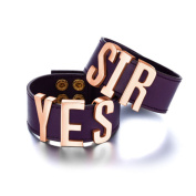 Yes Sir Harley Quinn Bracelets (Pair) Suicide Squad Cuffs Purple Leather Wrist